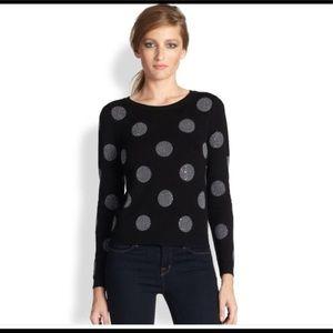 Alice+Olivia Celyn Polka Dot Black Sweater Large